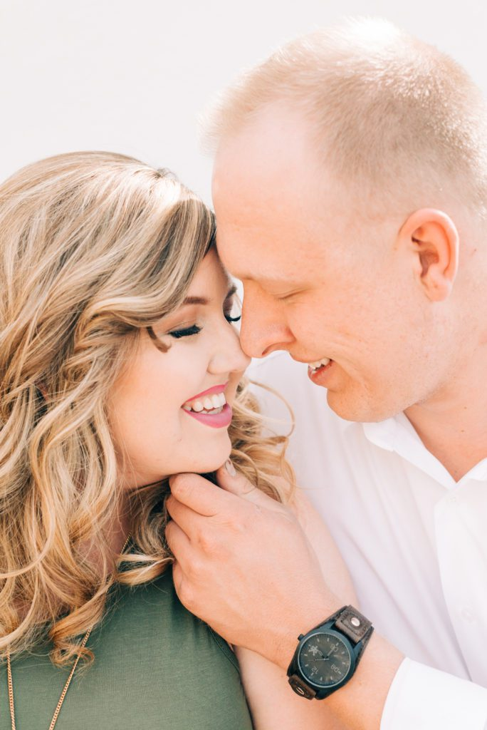 arizona romantic engagement session photos couples about to kiss