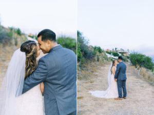 bride and groom are kissing and being happy that they just got married
